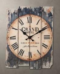 【お取り寄せ】掛け時計 ビンテージ風 かすれ風 木製 アメリカン (ブラック)