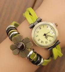 腕時計 アンティーク風 花 編み編みべルト (ライトグリーン)