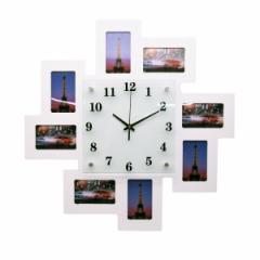 【お取り寄せ】掛け時計 フォトフレーム 8枠付き ホワイト (大)