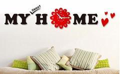 【お取り寄せ】掛け時計 My sweet home ロゴ付き ブラック×レッド