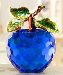 【お取り寄せ】置物 小さなりんご クリスタル 枝付き 3枚葉 (ブルー)