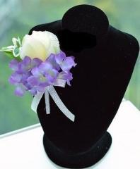 ブートニア コサージュ 造花 バラ アジサイ (ホワイト×パープル)