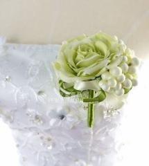 【お取り寄せ】ブートニア コサージュ 造花 バラ (ライトグリーン×ホワイト)