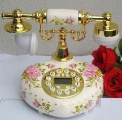 【お取り寄せ】置物 電話機 電話器 ロマンチック ハート型 薔薇 陶器製 姫系 (A)