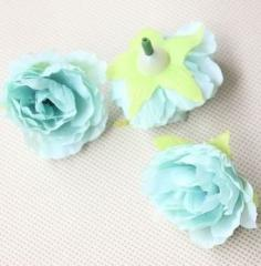 【お取り寄せ】造花 バラ 花のみ 4センチ 50個 (ミントブルー)