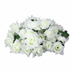 【お取り寄せ】造花 バラ 花のみ 5センチ 100個 (ホワイト)
