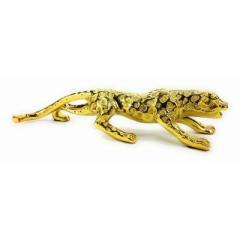 【お取り寄せ】置物 豹 ジャガー 美しい輝き 躍動感 (ゴールド)