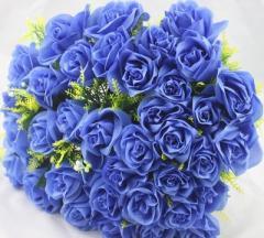 【お取り寄せ】造花 バラ 花束 ブーケ 36個の花 (ブルー)