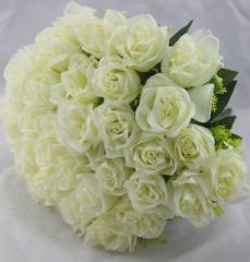造花 バラ 花束 ブーケ 36個の花 (オフホワイト)
