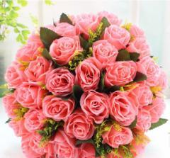造花 バラ 花束 ブーケ 36個の花 (ピンク)