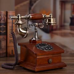 【お取り寄せ】置物 電話機 電話器 引き出し付き 木製 アンティーク風 ブラウン