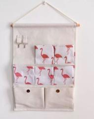 【お取り寄せ】ウォールポケット ナチュラル風 フラミンゴ柄 フック付き 7ポケット (ホワイト)