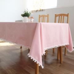 テーブルクロス 小さなボンボン付き ピンク ガーリー風 (長方形A 100×140cm)