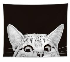 タペストリー ちょこんとのぞく猫の顔 リアル シックなブラック (大サイズ)