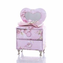 【お取り寄せ】アクセサリーケース ドレッサー型 ミニチュア家具 プリンセス風 花柄×リボン (Bタイプ)