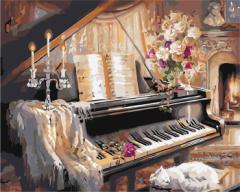 【お取り寄せ】塗り絵キット ピアノ DIY 油絵セット 大人用 静物画