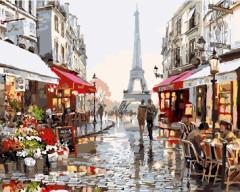塗りえキット DIY 油絵セット 大人用 世界の風景 (パリの街角)