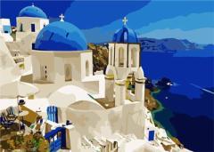 【お取り寄せ】塗り絵キット DIY 油絵セット 大人用 世界の風景 (サントリーニ島A)