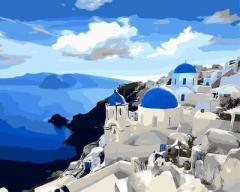 【お取り寄せ】塗り絵キット DIY 油絵セット 大人用 世界の風景 (サントリーニ島B)