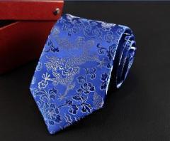 【お取り寄せ】ネクタイ ドラゴン柄 中国伝統柄 個性的 (ブルー)