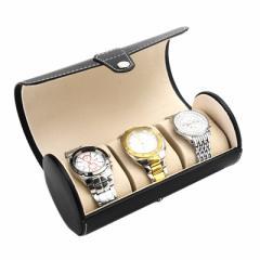 【お取り寄せ】腕時計ケース 筒型 シンプル スナップ留め レザー風 3本収納 (ブラック)