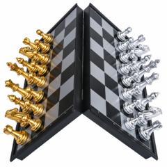 【お取り寄せ】チェスセット チェス盤 磁石式 コンパクトサイズ 折りたたみ式 (ゴールド×シルバー)
