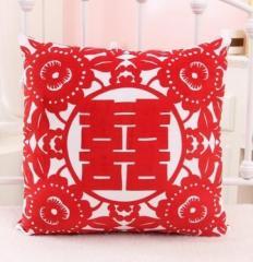 クッション 双喜紋 そうきもん 中国の縁起物デザイン風 (正方形)