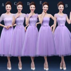【サイズ有S/M/L/XL/2XL/3XL】花嫁の介添えドレス パープル ロングドレス 冬 ブライズメイド服 大きいサイズ