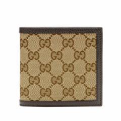 グッチ GUCCI メンズ 二つ折り財布 ベージュ×ダークブラウン GGキャンバス×レザー 150413ky9ln9903 アウトレット