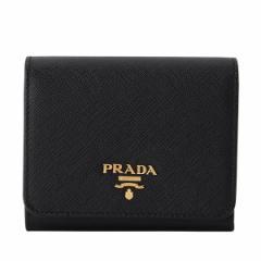 プラダ PRADA 三つ折り財布 ブラック レザー 1mh176safmet-nero
