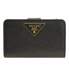 【セール】プラダ 財布 PRADAレディース 二つ折り財布 ネロ 1ml225glacal-nero アウトレット