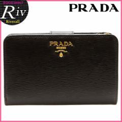 プラダ PRADA 二つ折り財布 ブラック 型押しレザー 1ml225vitmov-nero