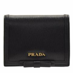 【スペシャルセール】プラダ PRADA 二つ折り財布 リボン  レディース アウトレット 1mv204vimofi-nero
