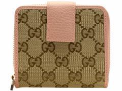 グッチ GUCCI 二つ折り財布 カーキ×ピンク GGキャンバス×レザー 346056ky9lg8609 アウトレット限定モデル