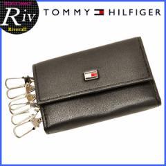 トミーヒルフィガー 男性 プレゼント キーケース TOMMY HILFIGER メンズ 6連キーケース ブラック レザー 94-4510bk