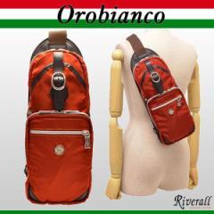 オロビアンコ OROBIANCO メンズ ボディーバッグ スリングバッグ オレンジ ナイロン×レザー annibale-f-arancio