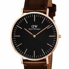 [厳選]ダニエルウェリントン Daniel Wellington 腕時計 Classic Black Bristol メンズ ブラック レザー/カーフ革 dw00100125