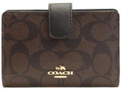 コーチ COACH L字ファスナー 二つ折り財布 レディース ブラウン×ブラック PVC×レザー f54023imaa8 アウトレット