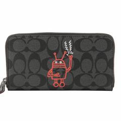 コーチ COACH Keith Haring ロボット ラウンドファスナー長財布 チャコール×ブラック  PVC×レザー f87105cqbk アウト