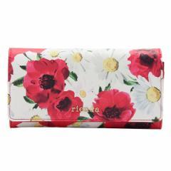 リエンダ rienda Dual Flower Print Flap Long Wallet 二つ折り長財布  レッドマルチ 合成合皮 r03603202-re
