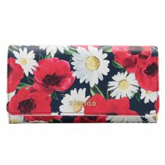 リエンダ rienda Dual Flower Print Flap Long Wallet 二つ折り長財布  ホワイトマルチ 合成合皮 r03603202-wh