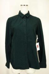 MACPHEE(マカフィー) ギンガムチェックシャツ 38 ブラック × グリーン レディース【バズストア 古着】【中古】