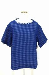 tricot COMME des GARCONS(トリココムデギャルソン) AD2015 ギンガムチェックコットンTシャツ M ホワイト × ブルー レディース【バズス