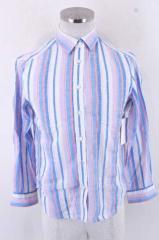 MACPHEE(マカフィー) マルチストライプリネンボタンシャツ 38 ホワイト × ピンク × ブルー レディース【バズストア 古着】【中古】