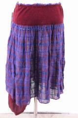 TSUMORI CHISATO(ツモリチサト) 16SS 異素材切替ニットスカート 2 レッド × パープル × ワインレッド レディース【バズストア 古着】