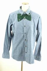 TSUMORI CHISATO(ツモリチサト) 12AW 蝶ネクタイ調デザインボタンシャツ 2 グリーン × ブルー レディース【バズストア 古着】【中古】