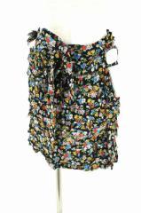 tricot COMME des GARCONS(トリココムデギャルソン) AD2005 花柄巻きスカート 表記無 ブラック × イエロー × ブルー レディース【バズ