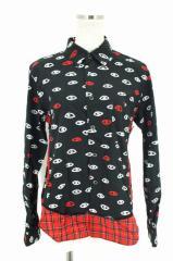 BLACK COMME des GARCONS(ブラックコムデギャルソン) AD2015 裾切替総柄シャツ S ホワイト × ブラック × レッド レディース【バズスト