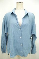 MACPHEE(マカフィー) スキッパーボタンシャツ 38 ブルー レディース【バズストア 古着】【中古】