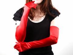 50±2cm赤/光沢サテンロンググローブ手袋/コスプレ 送料込